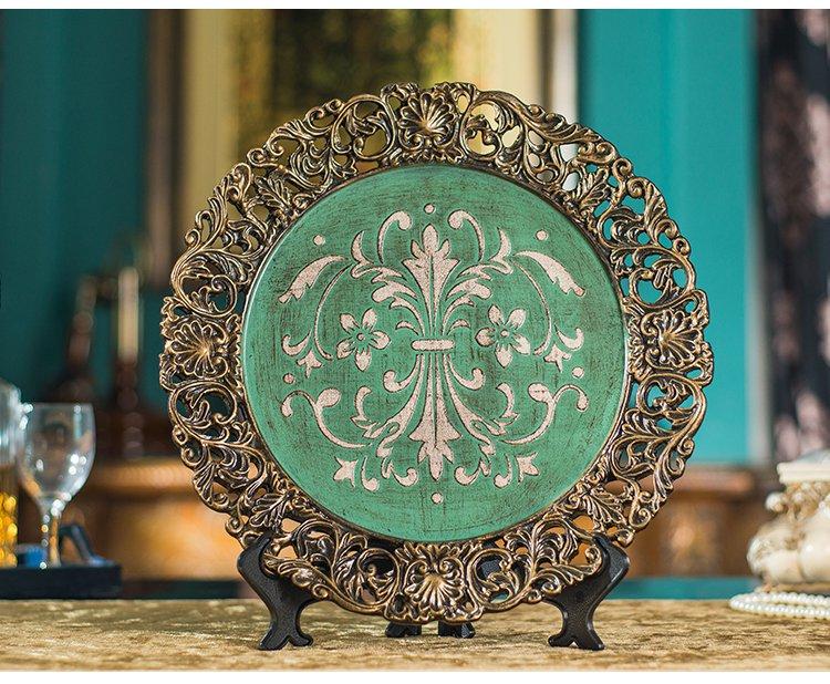 欧式树脂复古绿客厅书房装饰摆盘摆件