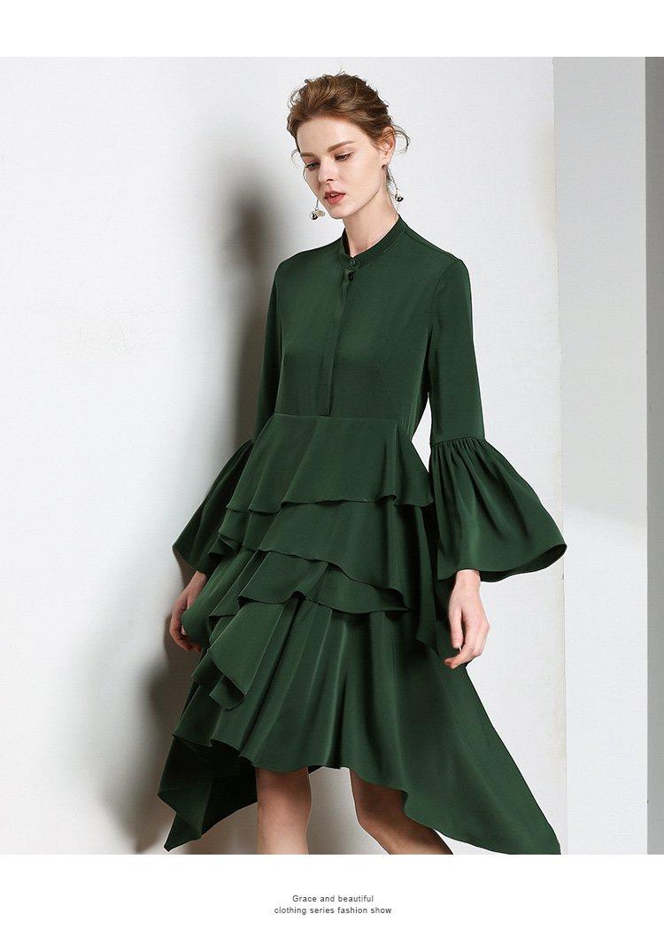 tendre春秋女士时尚浪漫主义层叠裙摆设计喇叭袖不规则下摆连衣裙