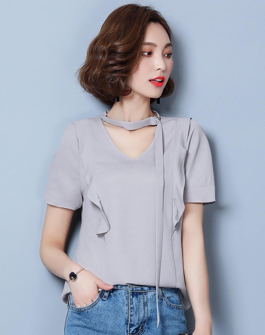 女款简约通勤优雅时尚领口飘带短袖木耳边纯色百搭雪纺衫