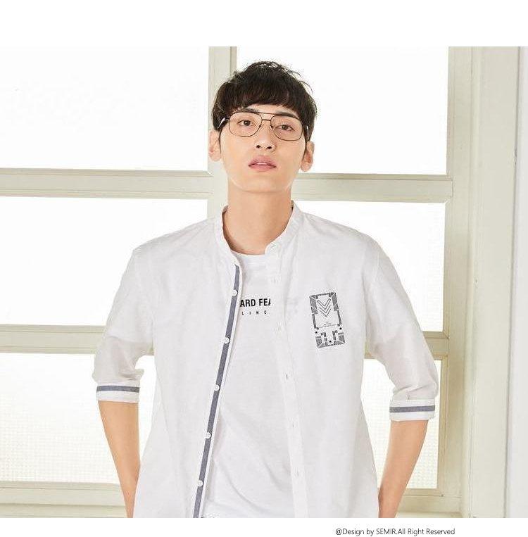 森马2018夏季新款韩版潮流利落衬衣青少年纯棉男士衬衫图片
