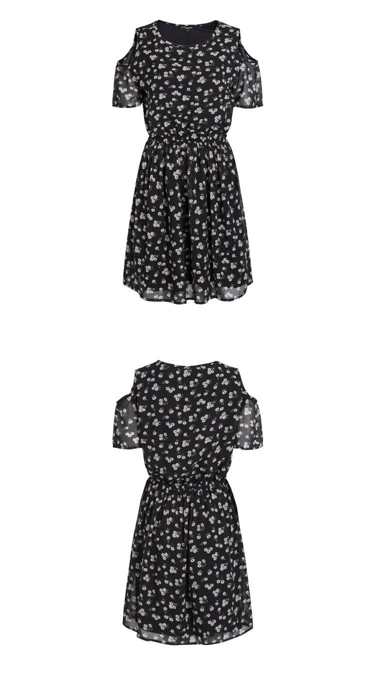 【2018夏新品】拉夏贝尔女式时尚碎花复古小心机露肩连衣裙沙滩裙子图片