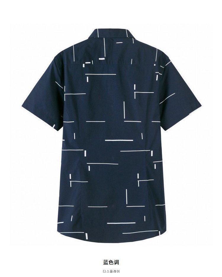 森马2018夏装新款修身韩版潮流青年个性几何男士衬衫图片