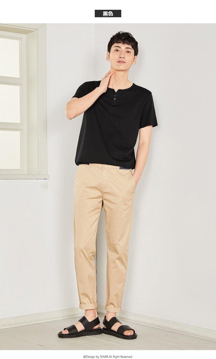 森马2018夏装新款时尚休闲个性纯色圆领短袖纯棉青年男士t恤图片