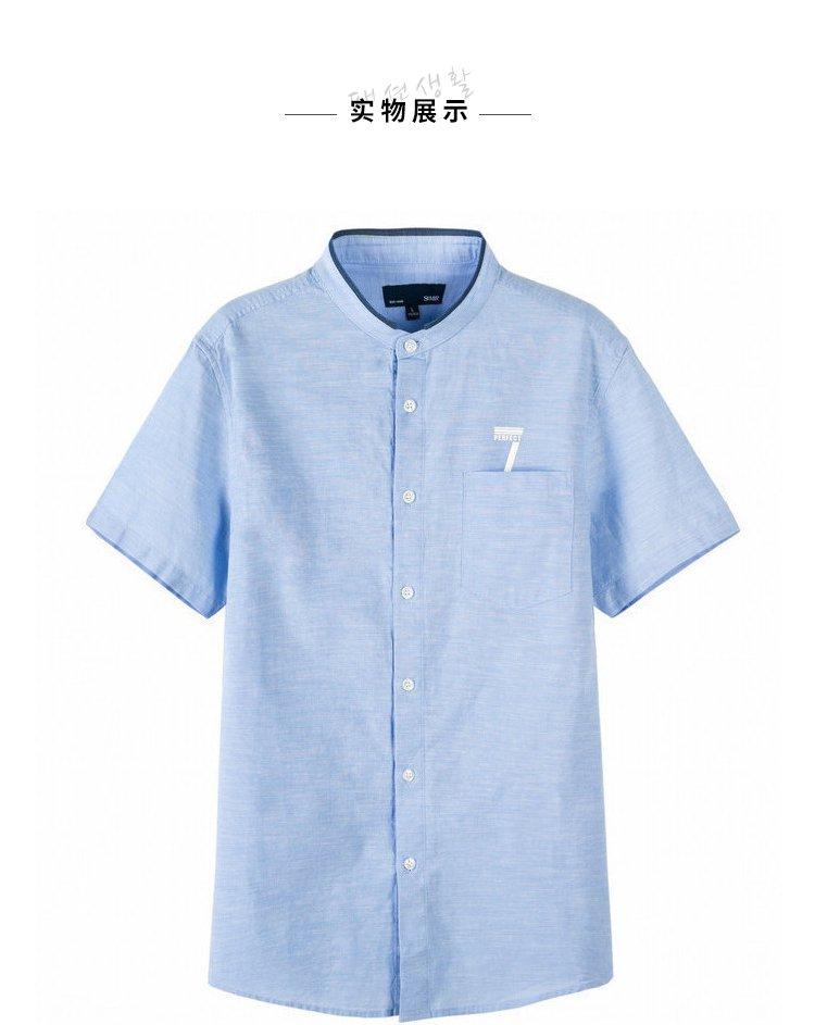 森马2018夏季新款韩版小清新衬衣立领棉麻男士衬衫图片