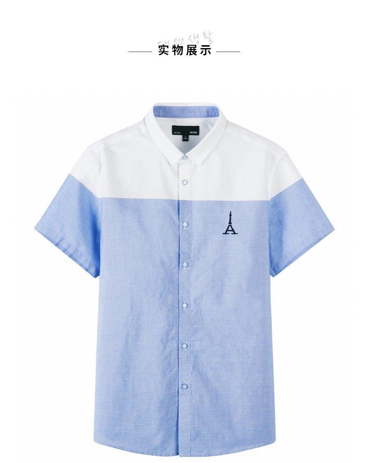 森马2018夏季新款韩版潮流小清新帅气青年男士衬衫图片