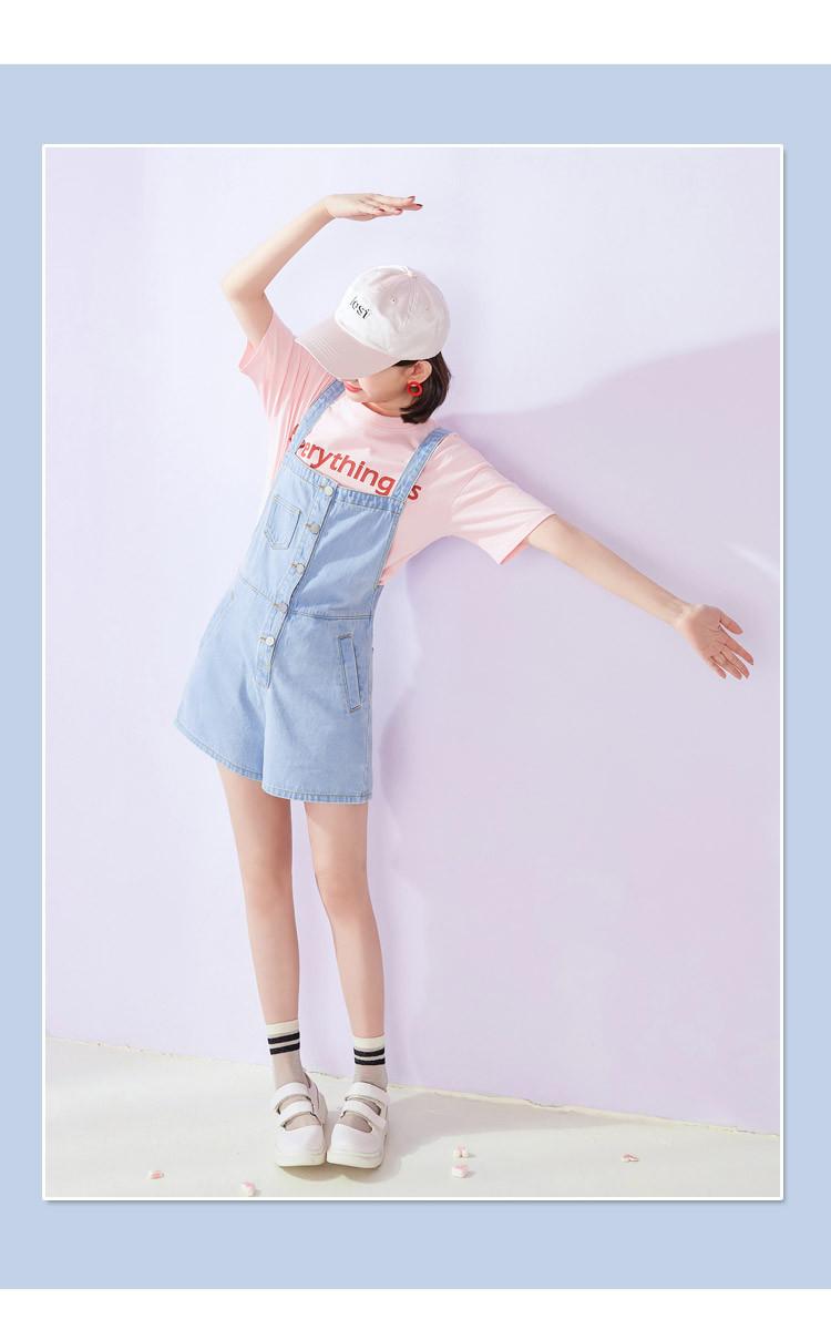 2018夏装新款女装宽松学生甜美萌妹子短裤牛仔裤女背带裤高腰