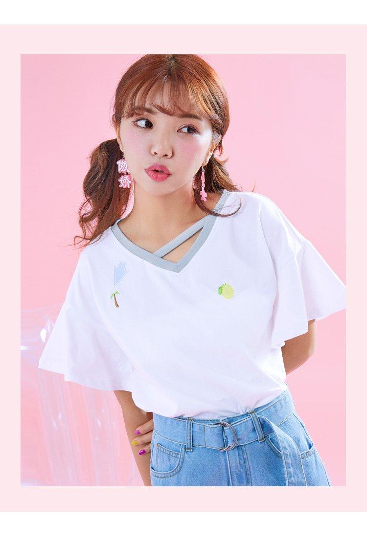 2018夏装新款女装宽松韩版甜美萌妹子学生纯色上衣chic短袖t恤女