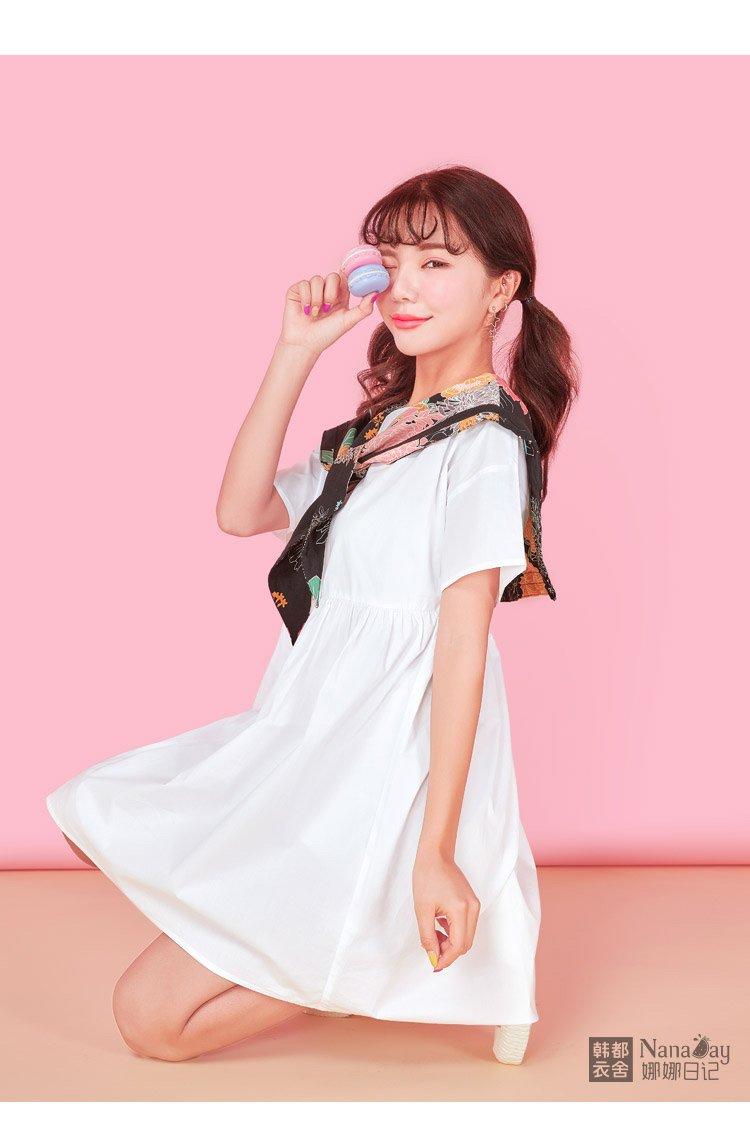 2018夏装新款女装宽松短袖高腰连衣裙女短裙小心机甜美萌妹子
