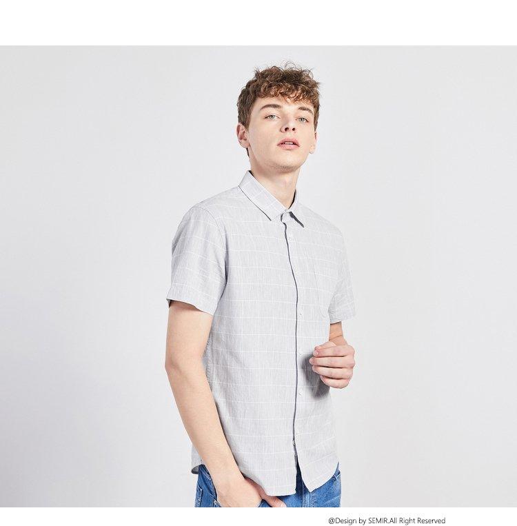 森马2018夏季新款暗纹【细腻手工纱】修身男士衬衫男士短袖衬衫图片