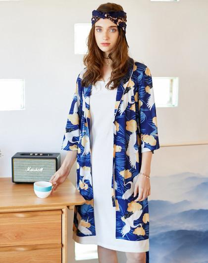 芬腾睡衣女可爱白鹤纯棉长袖家居服女士和风优雅睡衣两件套