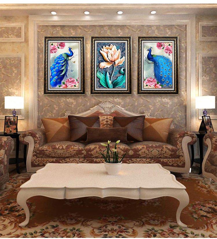 欧式花开富贵孔雀客厅沙发背景墙三联装饰画