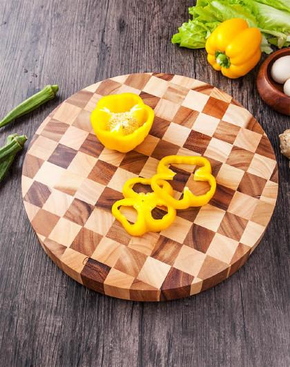 泰国进口相思木圆形35*35cm加厚棋盘格菜板案板砧板
