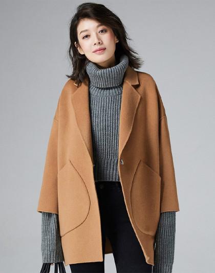 韩版拼接女士手工女士保暖双面呢100%羊毛呢子女式毛呢大衣
