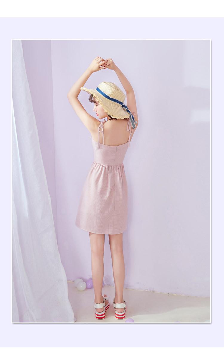 2018夏装新款女装春夏装韩版甜美萌妹子俏皮时尚小清新百搭吊带裙格子