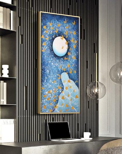 金鹤延年 纯手绘油画客厅壁画玄关挂画山水鎏金墙画新中式轻奢抽象