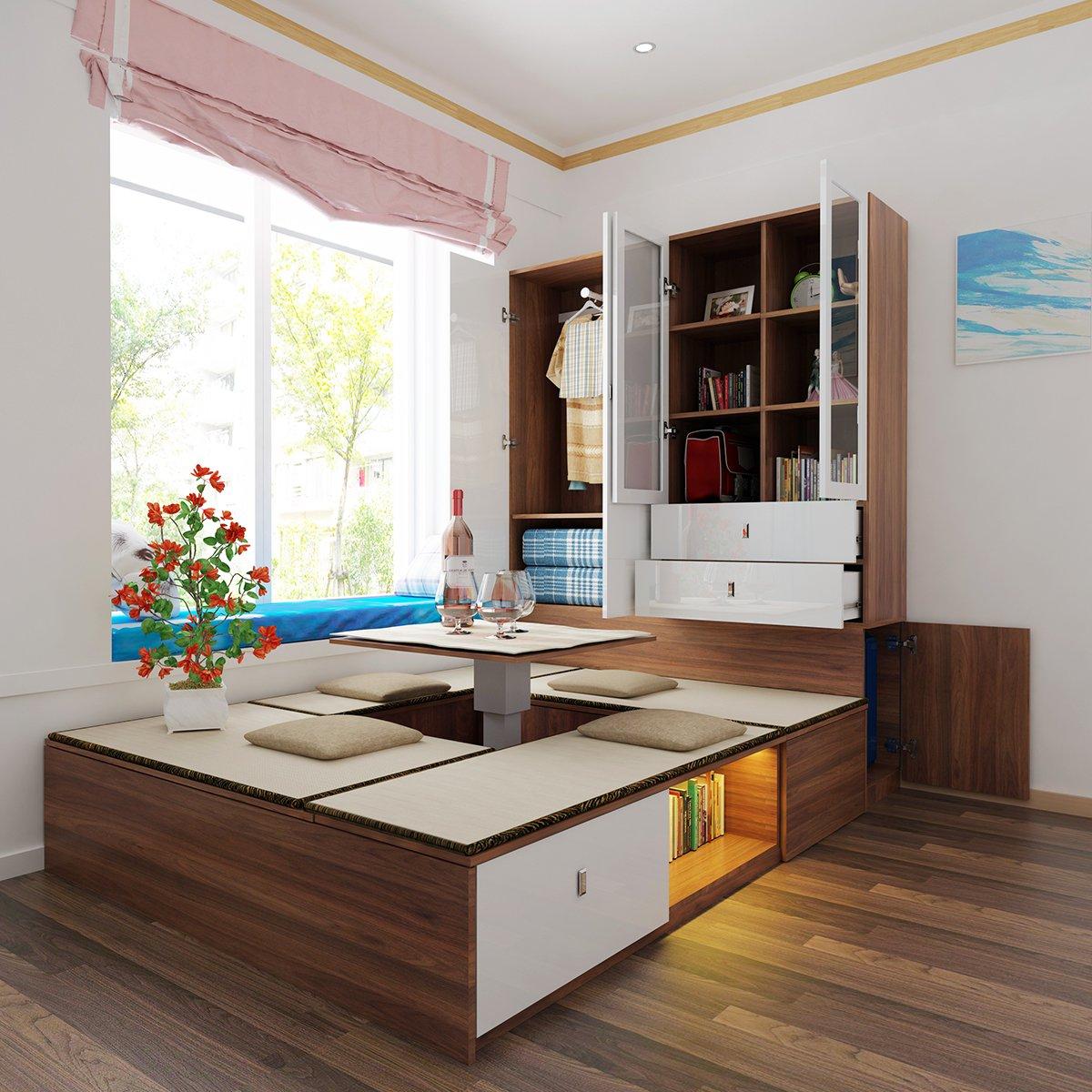 轻奢北欧 卧室家具胡桃木高箱储物榻榻米双人床小户型主卧收纳床