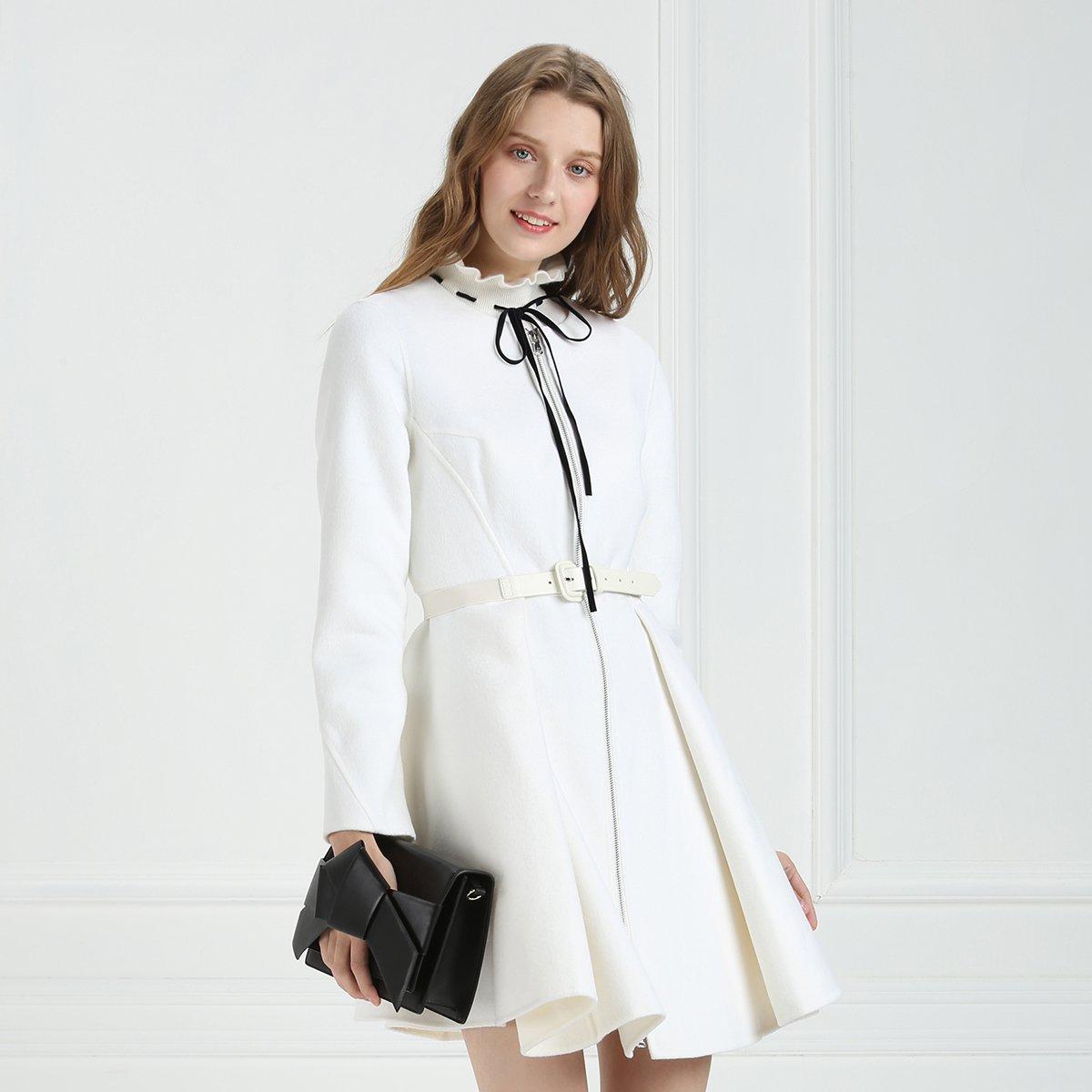 哥文花园无领纯色羊毛修身高腰大衣中长外套CJA3346270010