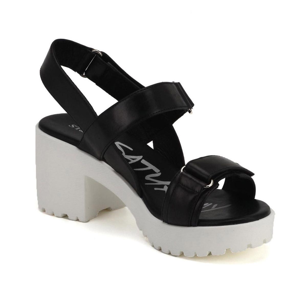 黑色牛皮休闲凉鞋