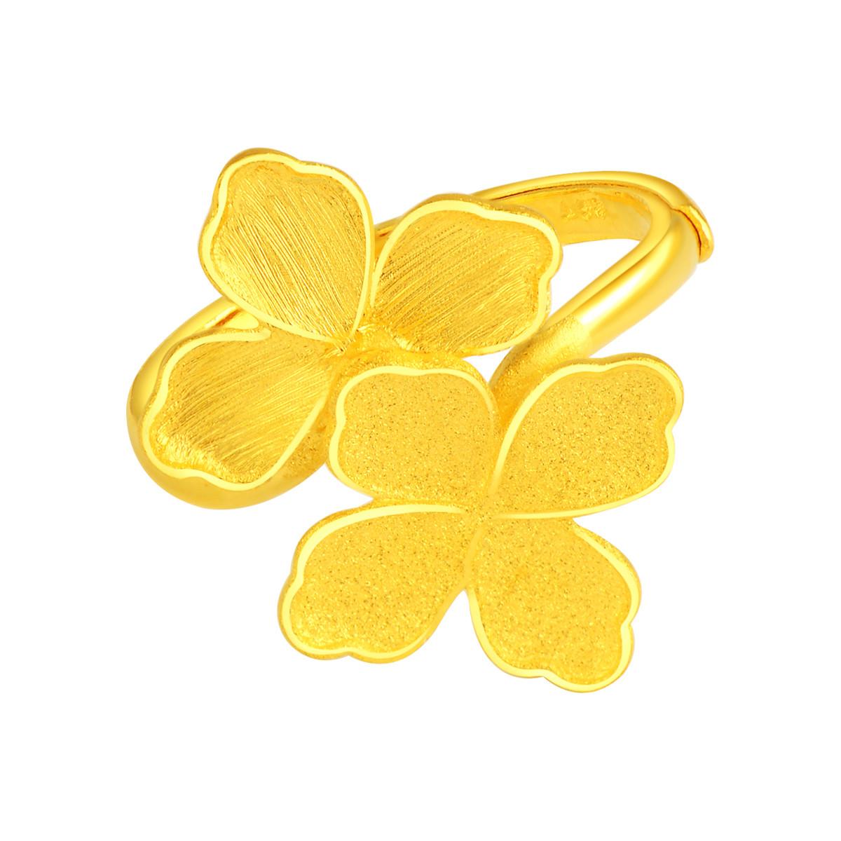 老庙足金黄金戒指都市丽人拉丝磨砂双四叶草戒约6.6克021035920110000