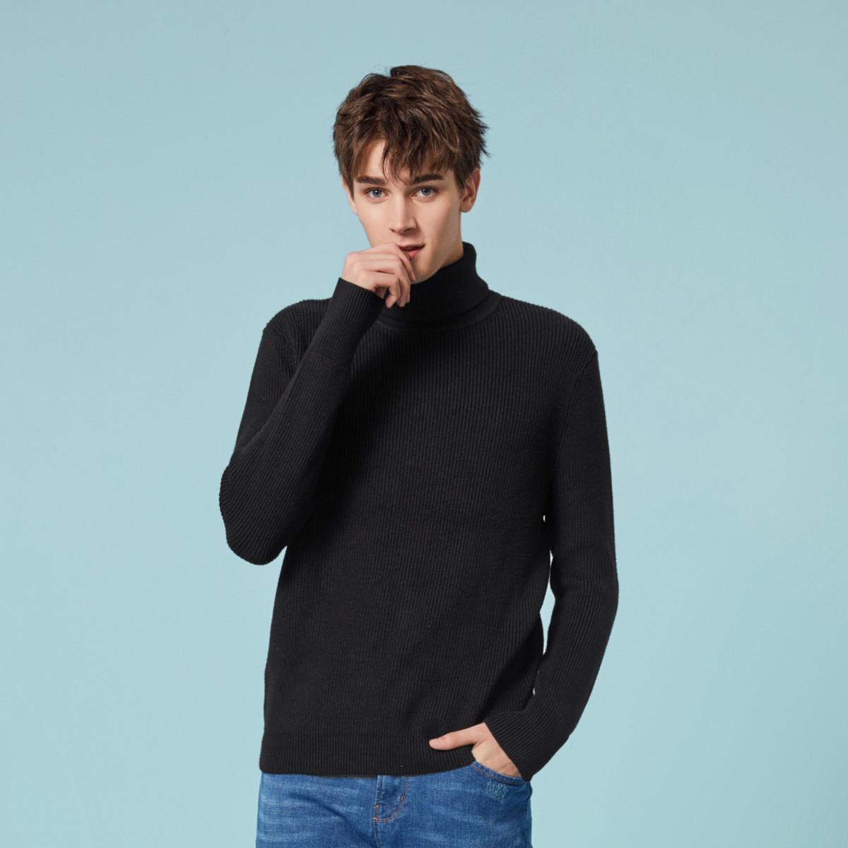 保暖高领触感细腻森马2018冬装新款简约休闲保暖舒适毛衣男士针织衫男图片