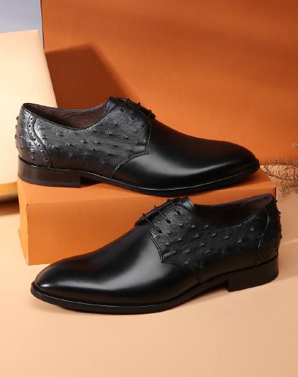 【质感鸵鸟皮】男鞋职场正装男士皮鞋商务正装德比鞋
