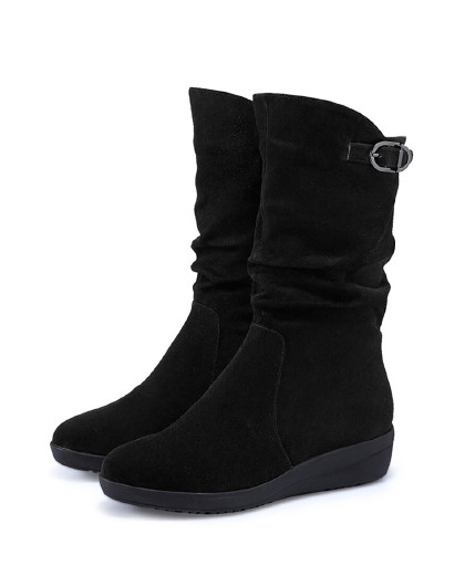哈森2018冬季新品羊反绒圆头皮带扣拉链坡跟中筒休闲靴女ha83409图片