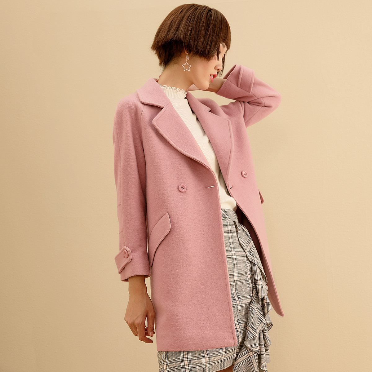 冬装清仓】冬季女士双面羊绒大衣单排扣毛呢大衣女冬中长款图片