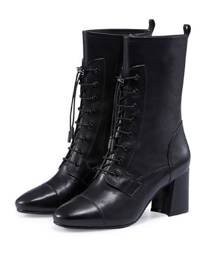 哈森2018冬季新款羊皮粗高跟女靴 系带马丁靴ha87170图片