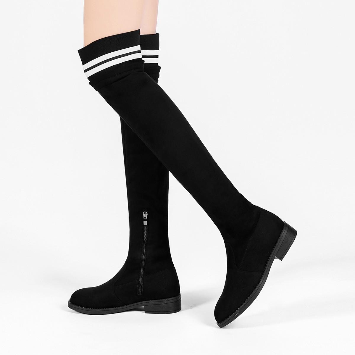 卡依特女靴冬季长靴过膝靴瘦瘦长腿弹力套筒学生保暖百搭简约长筒靴K84193128