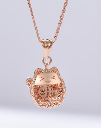 enzo 猫咪猫爱鱼可爱个性18k金彩金玫瑰金吊坠k金吊坠