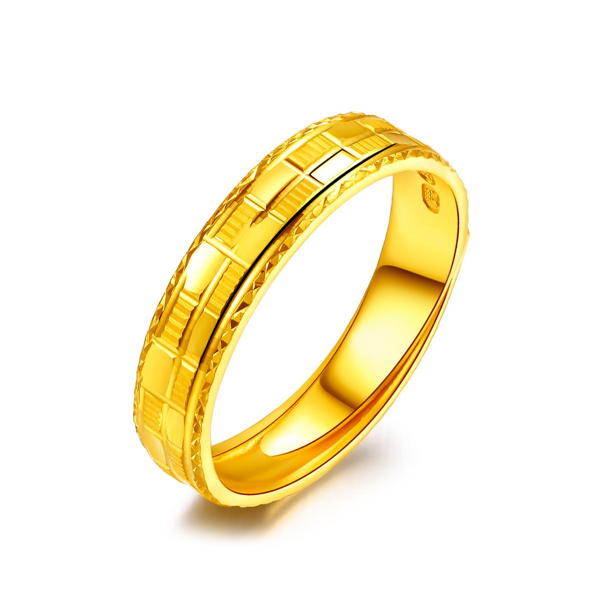 金至尊金至尊 足金格纹条戒黄金戒指 计价DFJZ0082QJ