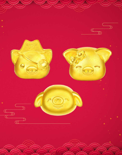 q萌猪 足金串珠黄金吊坠黄金串珠送宝宝3d硬金金猪