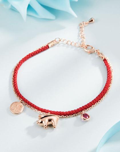 【转运小猪】时尚红色手绳转运猪新年礼物手镯手链