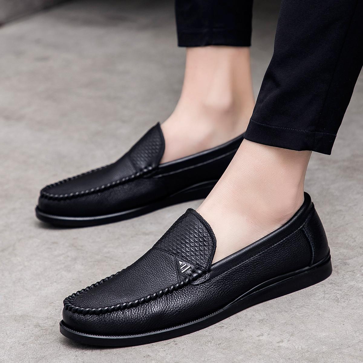 波尔谛奇新款男鞋牛皮套脚豆豆鞋乐福鞋男士休闲皮鞋男商务鞋K8S44031-H1