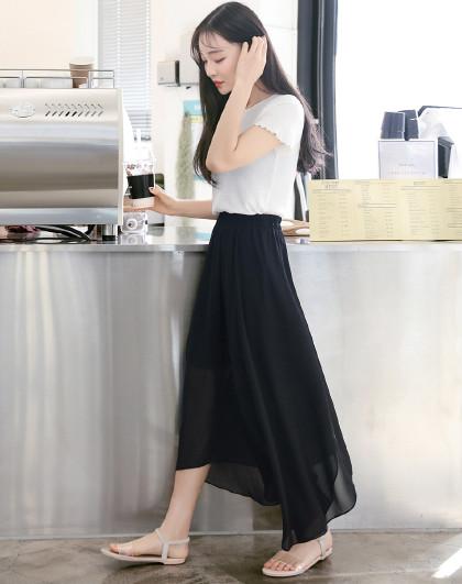 韩都衣舍 2019夏装新款韩版女装纯色雪纺不规则拼接气质半身裙