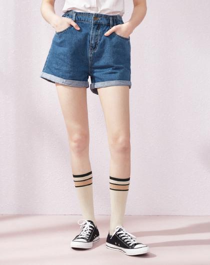 森马2019夏季新款韩版宽松港味卷边阔腿热裤牛仔短裤女图片