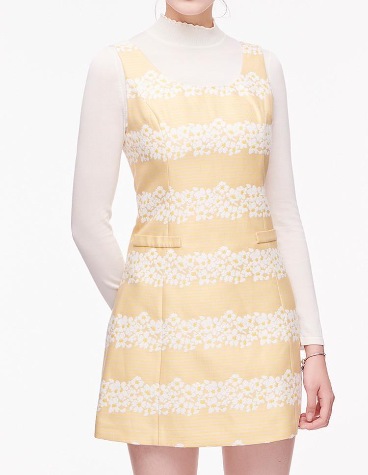 vgrass维格娜丝格纹针梭结合连衣裙