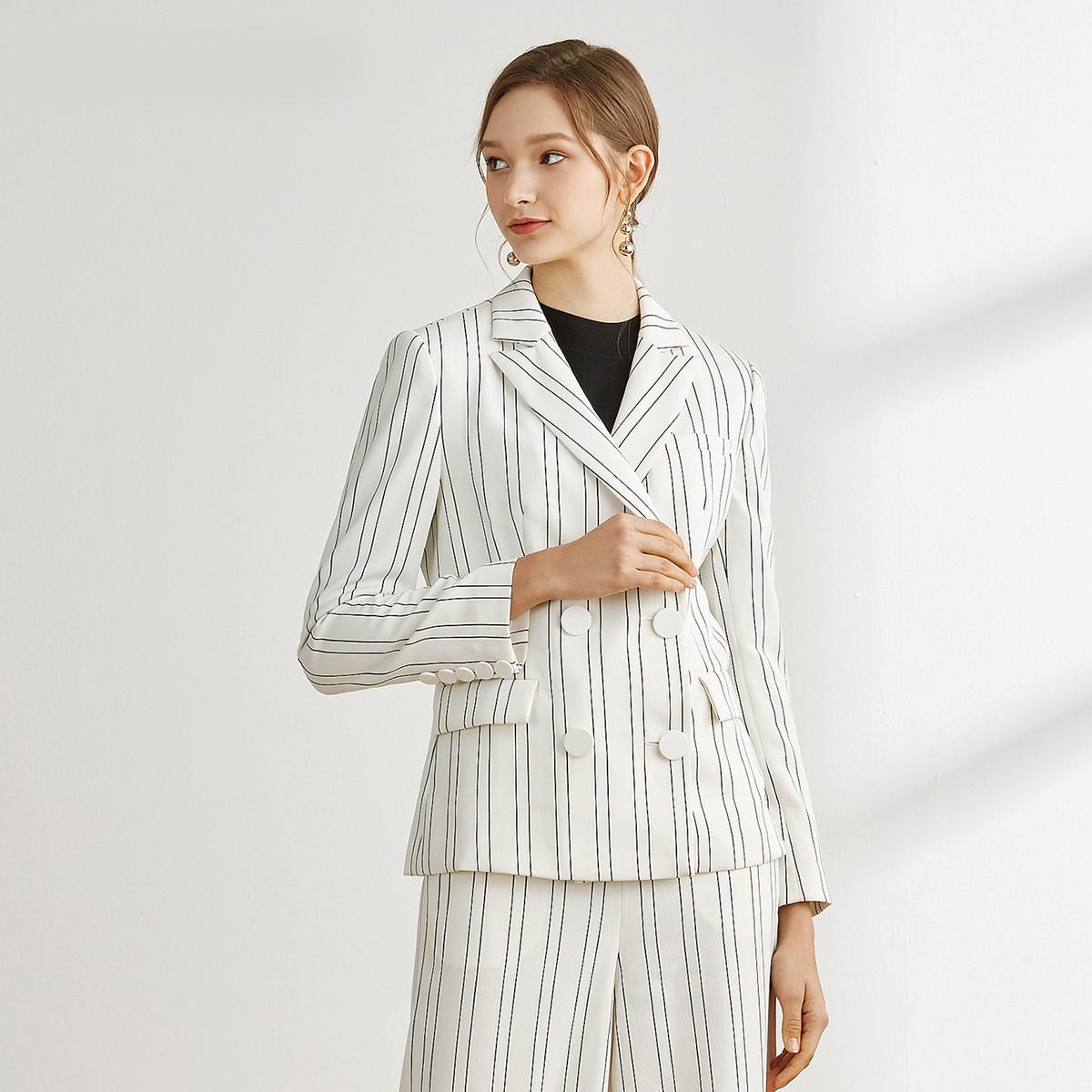 娜尔思·灵2019薄款翻领条纹撞色外套休闲通勤显瘦西装外套女L1AHB130200