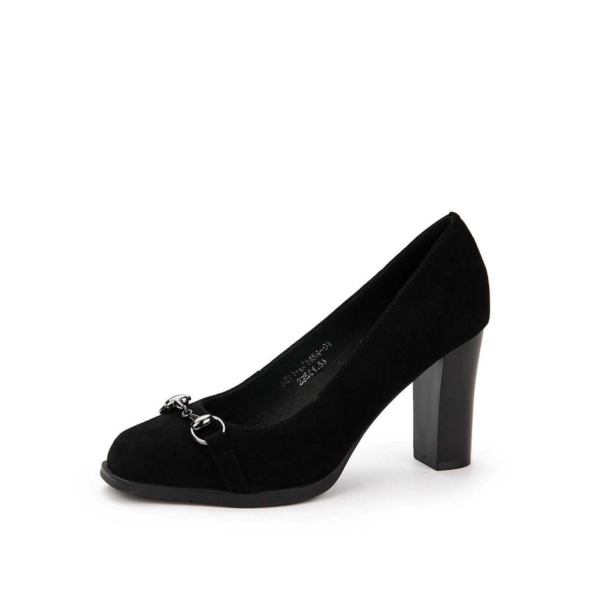 莱思丽新品简约方头粗跟羊皮单鞋KE81-LC1454-01
