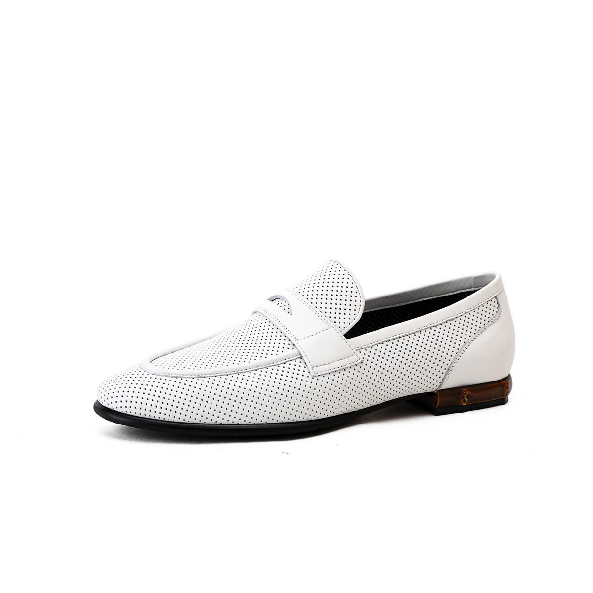 诺贝达2019新款 小牛皮商务休闲冲孔鞋一脚蹬男士皮鞋WRJ60591P