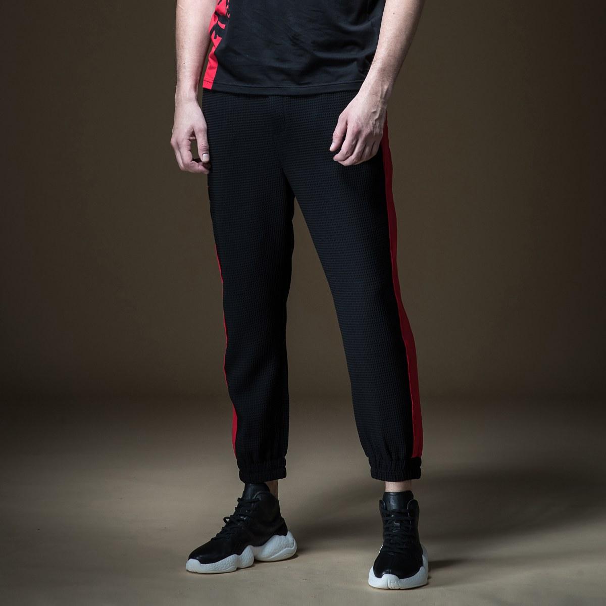 品立2019夏季新款个性时尚撞色男士运动裤束脚九分休闲裤B192817578001