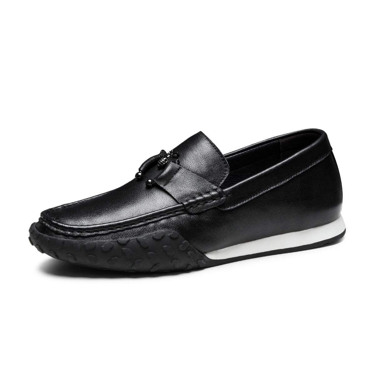 波尔谛奇新款真皮男鞋牛皮舒适套脚乐福鞋司机鞋男士商务皮鞋豆豆鞋K8X81110-3-HY