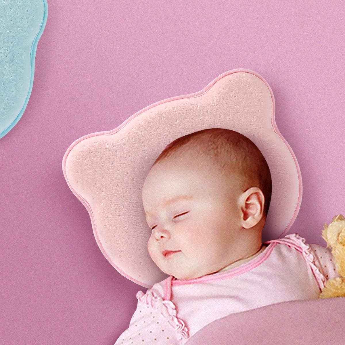 Ramada天鹅绒宝宝新生儿预防偏头记忆棉婴儿午睡定型枕儿童枕头枕芯KPL171002-02