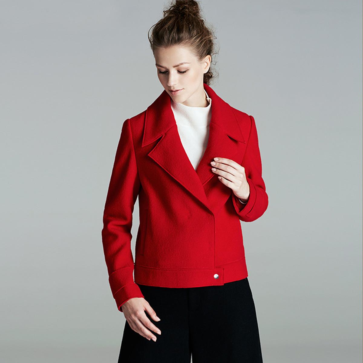 颜域颜域冬装新款简约短款毛呢外套V01W7019A1