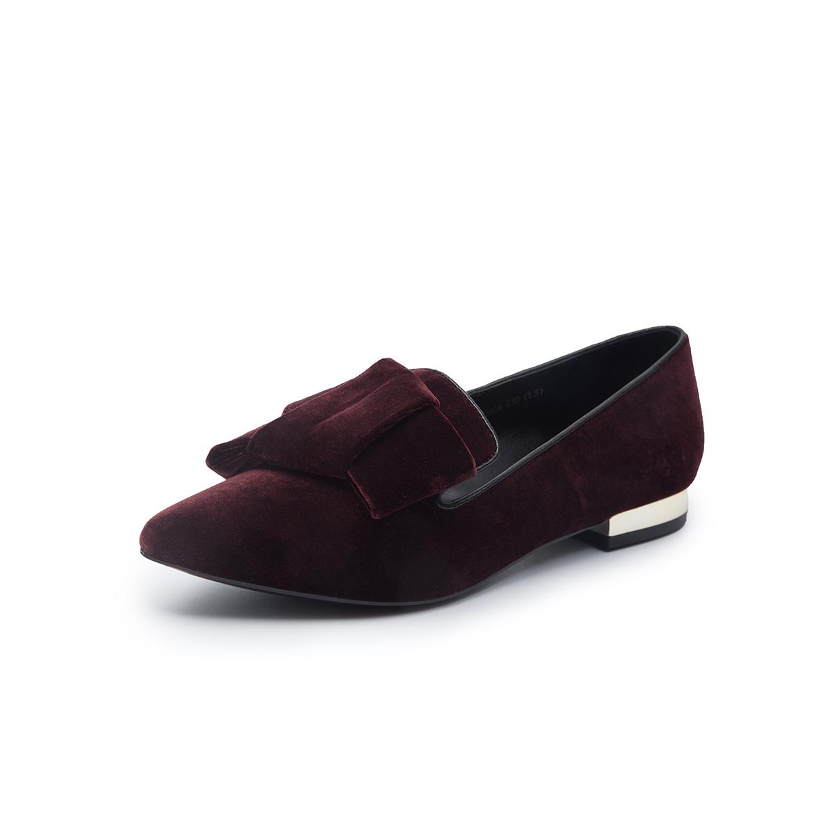 千百度C.BANNER 千百度秋新品商场同款蝴蝶结低跟女单鞋A8429623A06