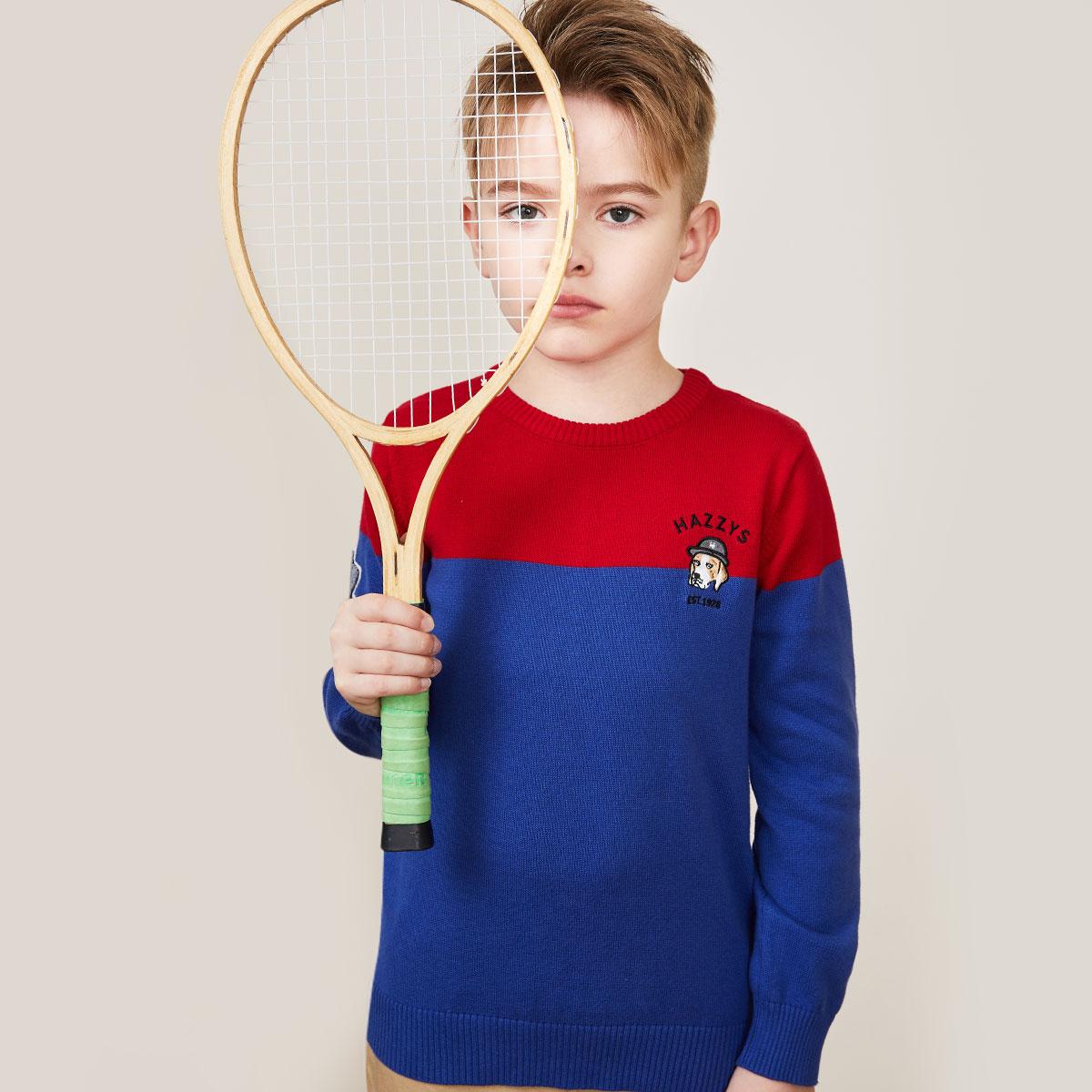 哈吉斯hazzys哈吉斯童装儿童2019秋季新款男童针织衫HZNQBD25CW687B07