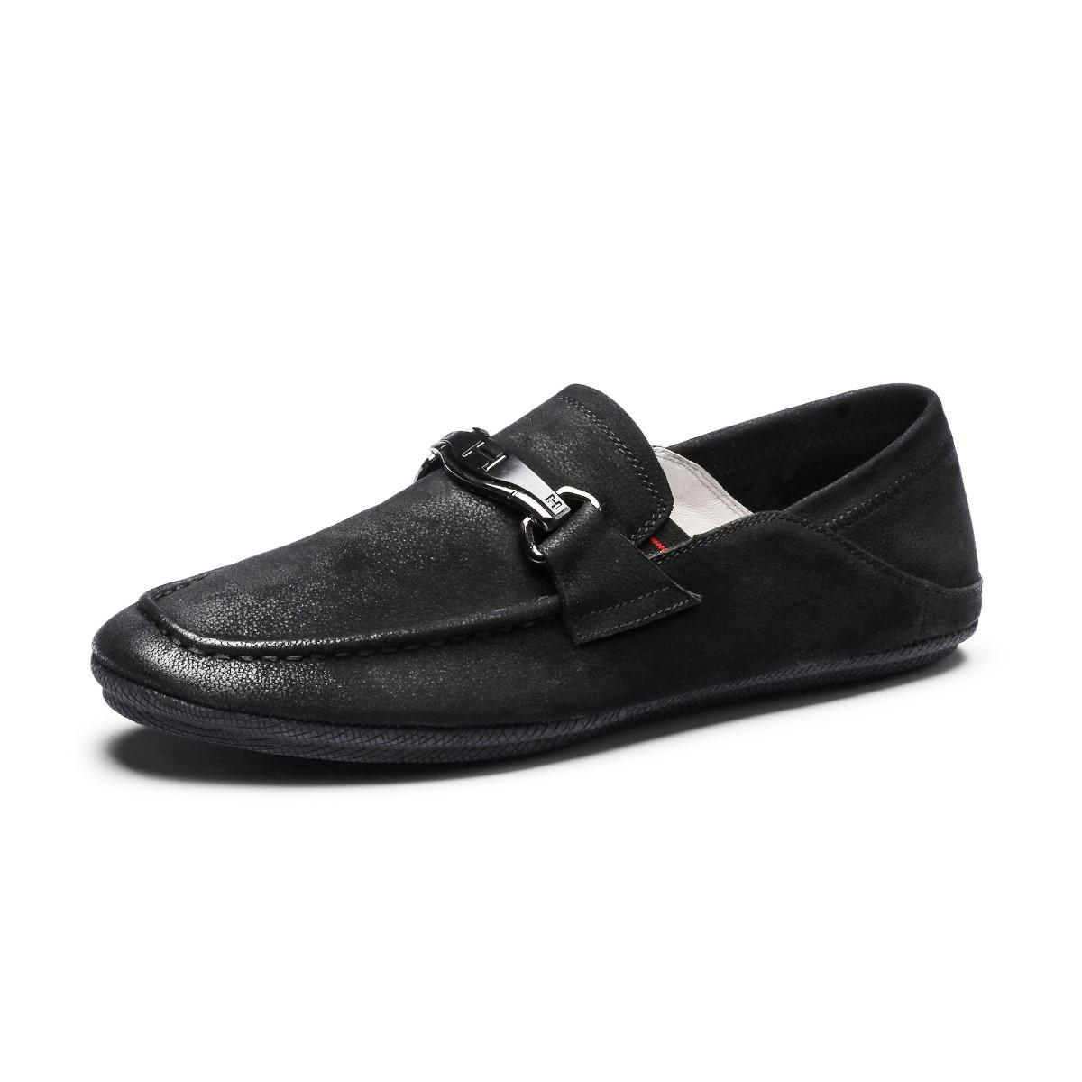 波尔谛奇新款真皮男鞋牛皮纯色简约舒适商务豆豆鞋男士皮鞋K8X21041-3-H1
