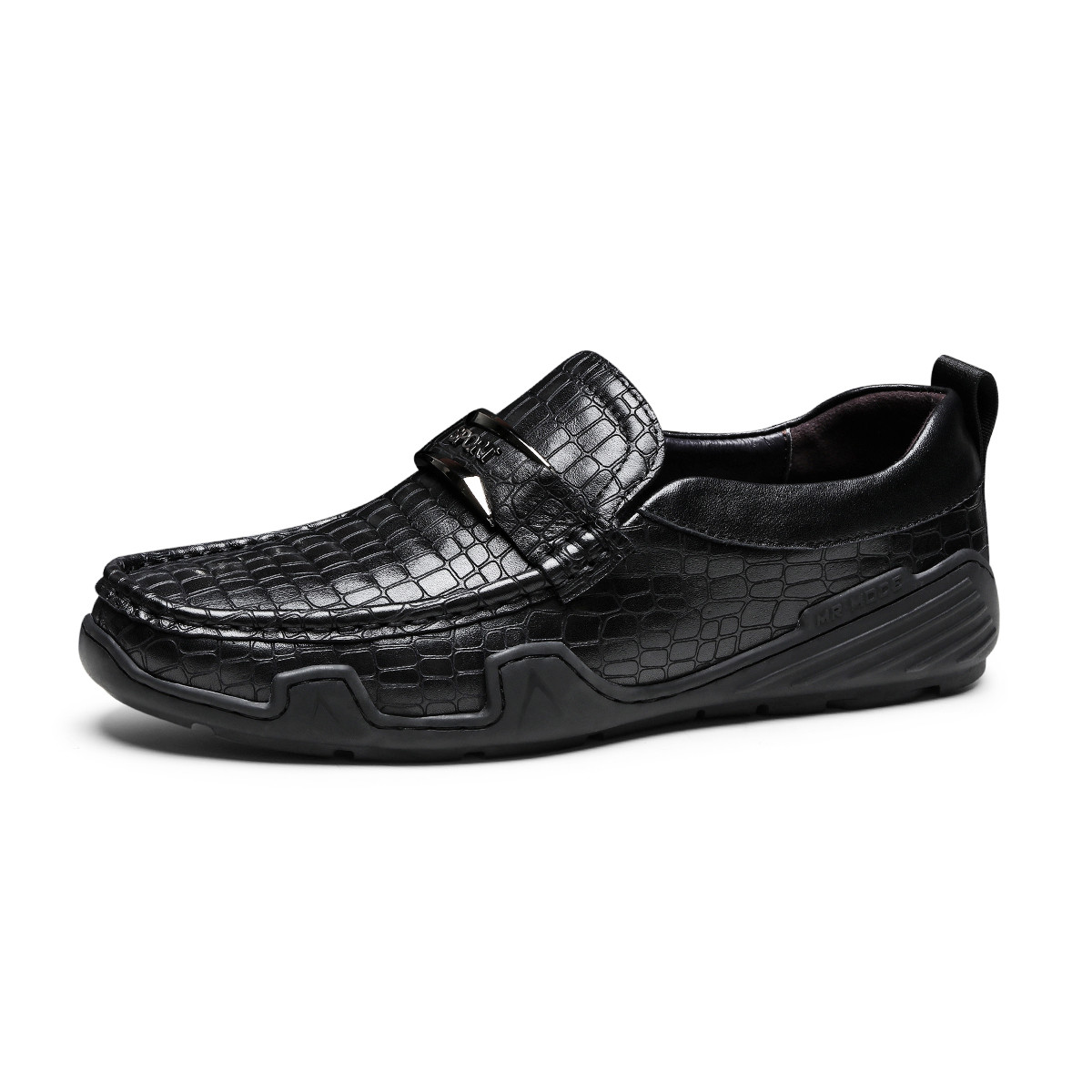 波尔谛奇新款真皮男鞋格纹舒适厚底套脚乐福鞋司机鞋男士商务皮鞋K8X81109-3-HH