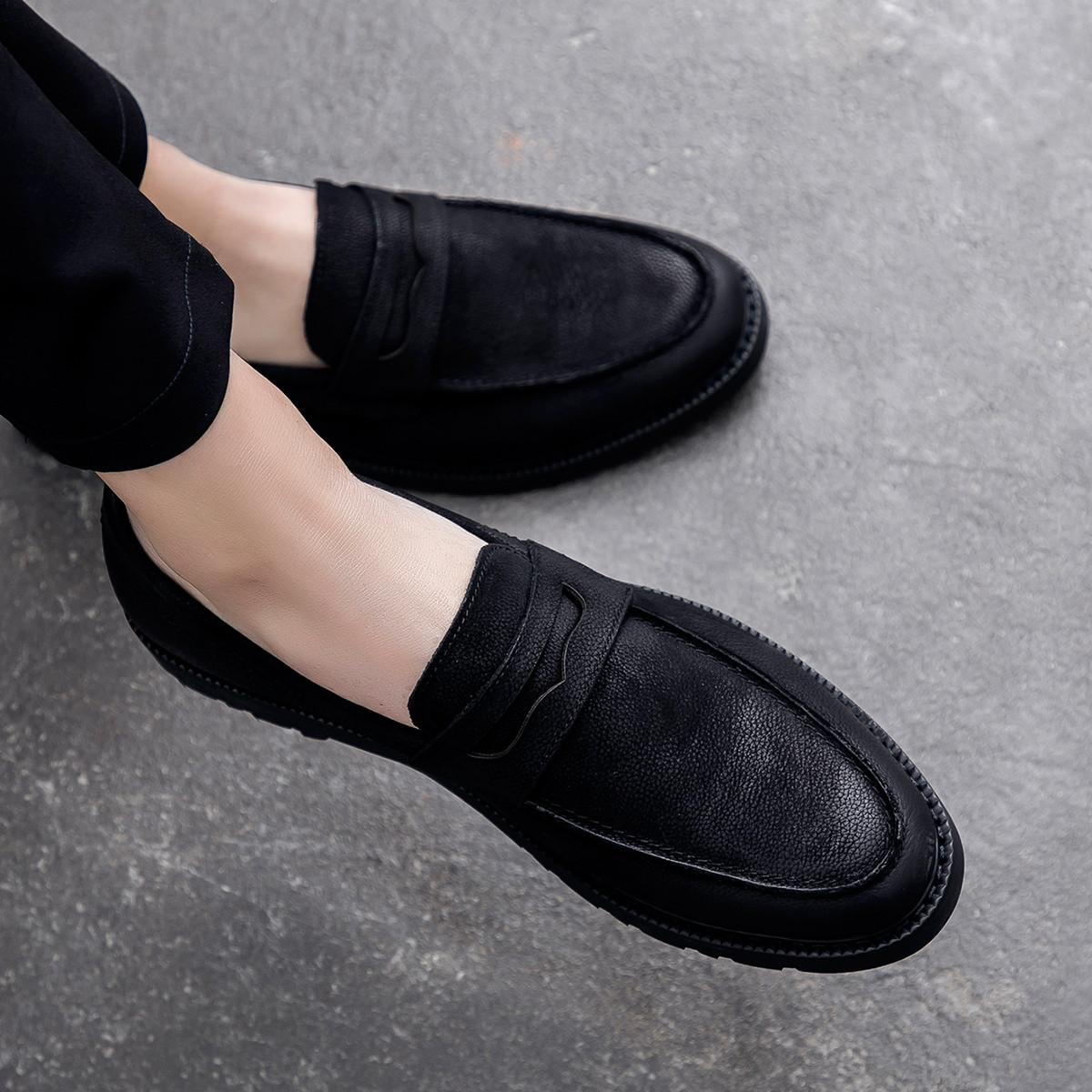 波尔谛奇秋季新款男鞋简约英伦舒适套脚乐福鞋男士皮鞋子男商务休闲鞋K8X70011-3-H1