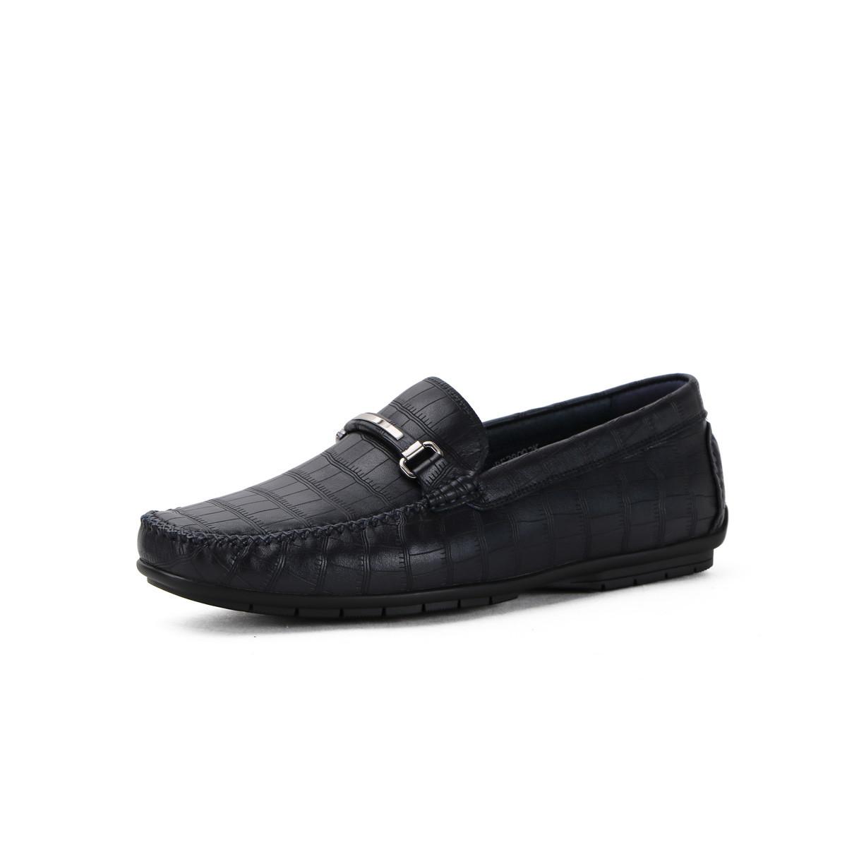 诺贝达压纹牛皮时尚 专柜同款一脚蹬男士休闲鞋男鞋SRE28092K